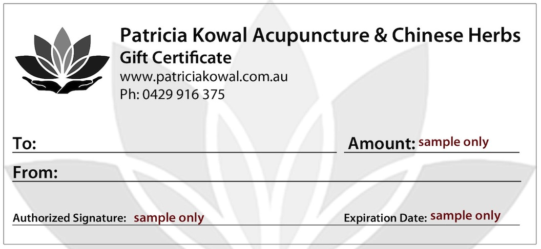 Acupuncture Gift Certificate Noosa
